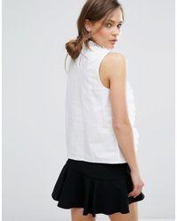 New Look White Cutwork Frill Sleeveless Top