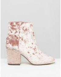 ASOS Pink Rachelle Velvet Heeled Ankle Boots