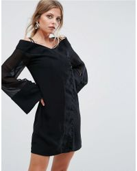 256d84fe5ce Lyst - C meo Collective Presence Wide Sleeve Mini Dress in Black