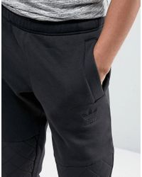 Adidas Originals Black Quilted Panel Joggers for men