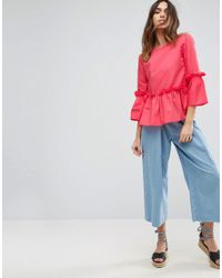 ASOS Pink Asos Cotton Ruffle Smock Top