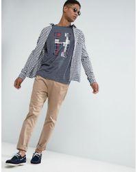 Hilfiger Denim - Tommy T-shirt Large Tartan H In Blue Marl for Men - Lyst