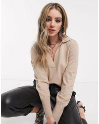 Maglione cammello con colletto e scollo a V di Object in Natural
