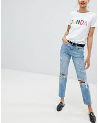 Pieces Blue Distressed Mom Jean