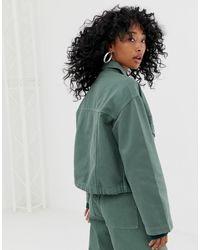 Weekday Green Drawstring Denim Jacket