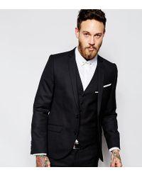 Heart & Dagger Black Suit Jacket In Birdseye Fabric In Super Skinny Fit for men