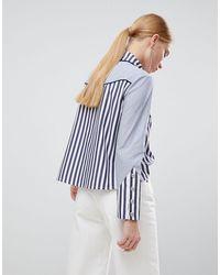 Chemise contrastante à rayures avec franges style western House of Holland en coloris Blue