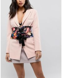 Corset à imprimé fleuri avec ceinture à la taille et œillets ASOS en coloris Multicolor