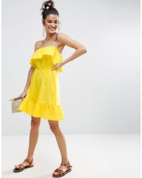 ASOS - Yellow Ruffle Bandeau Mini Sundress - Lyst