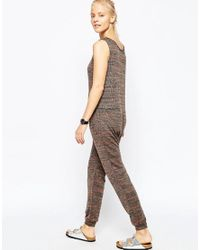 ASOS - Brown Minimal Jersey Jumpsuit In Space Dye - Lyst