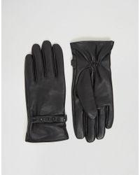 Gants en cuir avec clous au dos ASOS pour homme en coloris Black