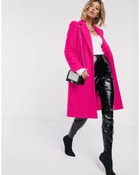 Manteau en laine mélangée style universitaire à bouton - fluo Helene Berman en coloris Pink