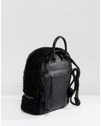 ALDO Black Anancoedo Faux Shearling Mini Backpack