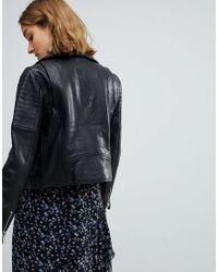 Vero Moda Black Leather Biker Jacket With Zip Details