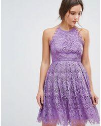 ASOS DESIGN - Purple Asos Pinny Prom Mini Dress In Lace - Lyst