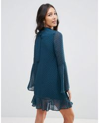 Oh My Love Green Textured Flare Sleeve Shift Dress With Pephem