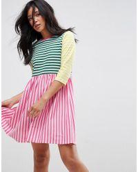 ASOS Multicolor Asos Cut About Stripe Mini Smock Dress