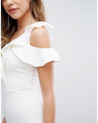 Lavish Alice - White Asymmetric Frill Jumpsuit - Lyst
