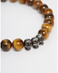 Simon Carter | Brown Imon Carter Tigerseye Beaded Bracelet With Skull Exclusive To Asos for Men | Lyst