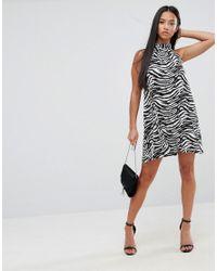 ASOS - Multicolor Halter Dress In Zebra Print - Lyst