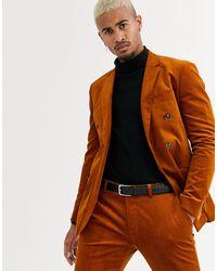 Topman Brown Skinny Suit Jacket for men