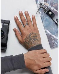 ASOS | Metallic Sterling Silver Ring With Skull Design for Men | Lyst