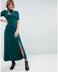 ASOS Green Asos Crepe Maxi Dress With Sweetheart Back