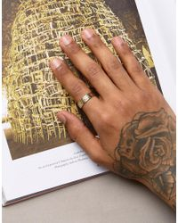ASOS - Metallic Gold Plated Sterling Silver Ring With Hammered Finish for Men - Lyst