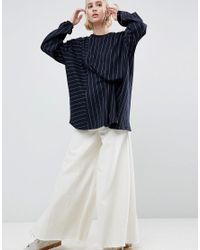 ASOS Black Pinstriped Sweat With Tuck Detail