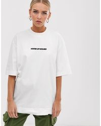 "T-shirt oversize bianca con scritta ""HOH"" ricamata di House of Holland in White"