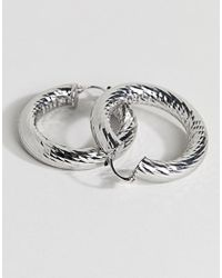 ASOS - Metallic Faceted Tube Hoop Earrings - Lyst