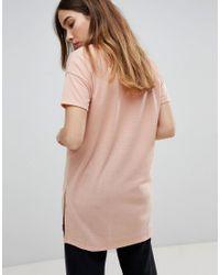 T-shirt oversize long côtelé à col V léger ASOS en coloris Pink