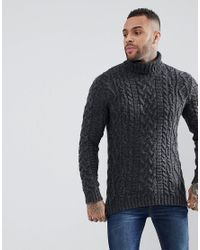 0f2d3514e95 ASOS Asos Cable Knit Roll Neck Jumper In Washed Black in Black for ...
