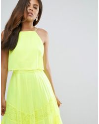 ASOS Yellow Lace Mix Crop Top Pleated Midi Skater Dress