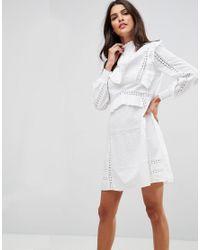 Coton Col Dentelle Blanc À Montant Trapèze En Empiècements Coloris Femme Volants Robe Et Courte De Avec Y6vbgIfy7