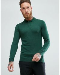 ASOS Knitted Muscle Fit Polo In Bottle Green for men