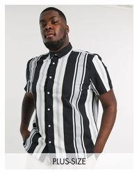 New Look White Plus Shirt Sleeve Ripstop Stripe Shirt for men