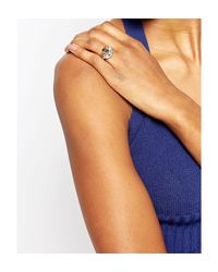 Kat&bee - Metallic Kat & Bee Wrapped Labrodite And Skull Ring - Silver/ Labrodite - Lyst