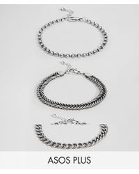 ASOS - Metallic Design Plus Mixed Chain Bracelet Pack In Burnished Silver for Men - Lyst