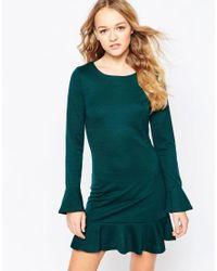 Rage Green Dress With Pep Hem