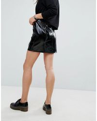 Tripp Nyc - Black High Shine Pu Mini Skirt - Lyst