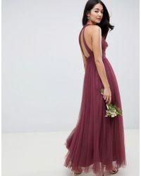 Robe longue en tulle doux ASOS en coloris Purple