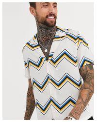 ASOS Short Sleeve Shirt In White Chevron Stripe for men