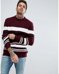 Bershka - Multicolor Textured Striped Jumper In Burgundy for Men - Lyst