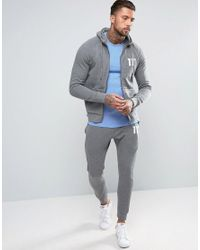 11 Degrees Gray Skinny Joggers In Grey for men