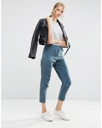ASOS Blue Washed Peg Pants With Raw Waistband