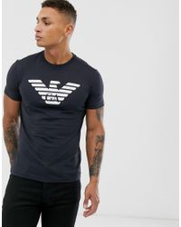 Emporio Armani Blue Large Eagle Logo T-shirt In Navy for men