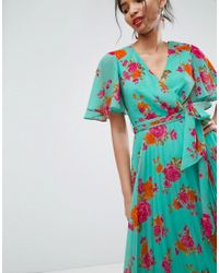 ASOS Blue Pleated Midi Dress In Floral Print
