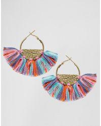 Créoles semi-circulaires avec pampilles Glamorous en coloris Multicolor