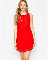 ASOS - Red Mini Broderie Double Layer Sundress - Lyst